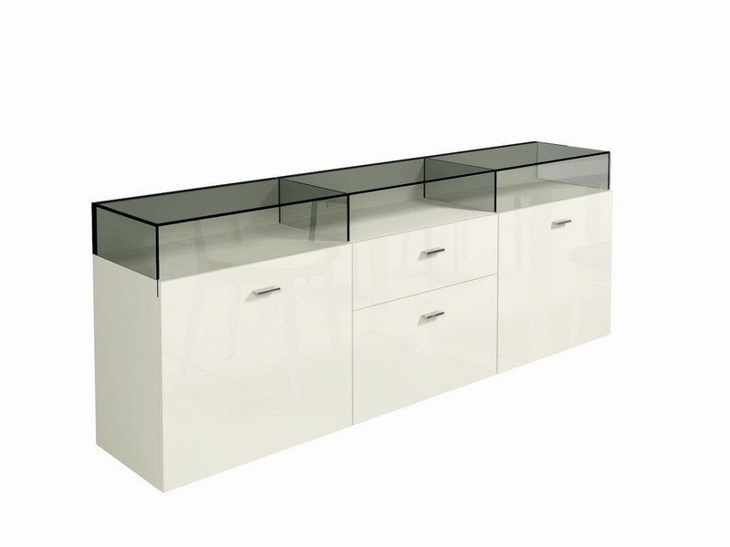 h lsta now 14 sideboard with showcase white innoshop. Black Bedroom Furniture Sets. Home Design Ideas