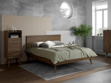 Temahome MARA 160 bed with rectangular headboard and wooden legs